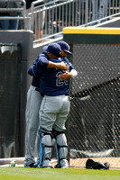 David Price hugging Jose Molina before game at CWS.